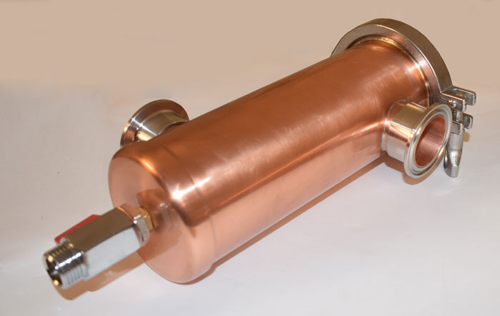 Джин корзина 1,5 дюйма медь, вид сбоку